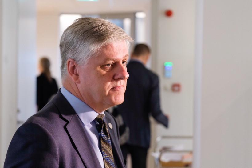 Benedikt Jóhannsson fjármálaráðherra á fundinum í morgun.