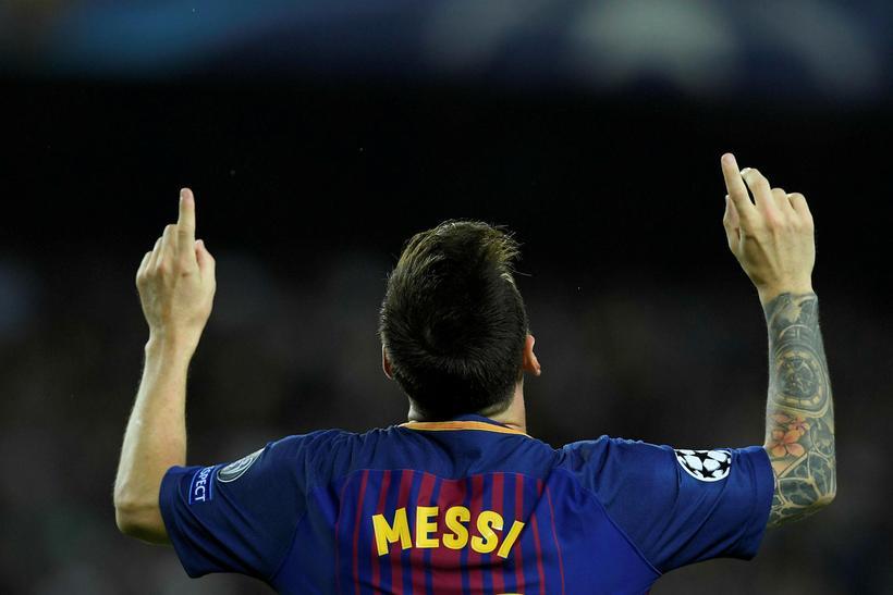Lionel Messi fagnar marki gegn Juventus í gærkvöld.
