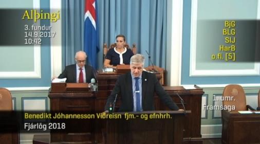 Benedikt Jóhannesson á Alþingi í morgun.