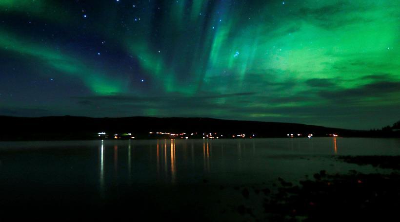 Ljósmyndari mbl.is og Morgunblaðsins tók þessa flottu mynd af norðurljósum ...