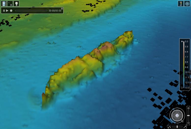 Flak Nordpolen teiknast í þrívídd í úrvinnsluforritum sjómælingasviðs Landhelgisgæslunnar.