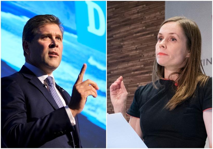 Bjarni Benediktsson, leader of the Independence Party, and Katrín Jakobsdóttir, ...
